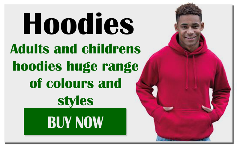 Hoodies, Adults and children's hoodies huge range of colours and styles