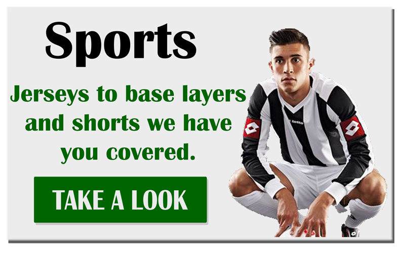 Sports, Jerseys to base layers and shorts we have you covered.